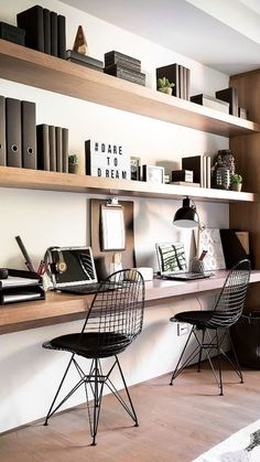 Contemporary Home Office Design Ideas - Discover organisation concentrated interior design ideas with the top ideal contemporary home office designs. Mesa Home Office, Home Office Shelves, Home Office Space, Home Office Desks, Home Office Furniture, Office Decor, Office Ideas, Men Office, Office Lounge