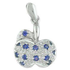 Blue sapphire white gold designer pendant