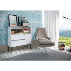Manhattan Comfort Gota Functional 1-Shelf, 2-Drawer Melamine MDP High Side Table in White-5AMC129 - The Home Depot
