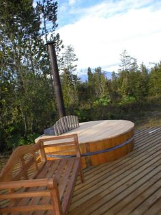 Wood Burning Hot Tub and Deck