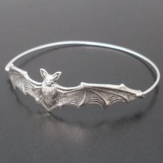Bat Bangle Bracelet  Silver by FrostedWillow on Etsy, $17.95