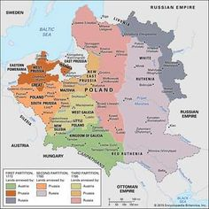 Partitions of Poland: Partitions of Poland, three territorial divisions of Poland perpetrated by Russia, Prussia, and Austria, by which Poland's size was progressively. Poland Map, Poland History, European History, Modern History, American History, Alternate History, Old Maps, Vintage Maps, Historical Maps
