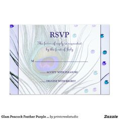 Glam Peacock Feather Purple Response Card