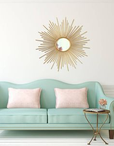 Extraordinary living room mirror singapore just on times home decor Living Room Mirrors, Living Room Sofa, Living Room Decor, Sun Mirror, Sunburst Mirror, Wall Mirror, Chaise Style Eames, Spiegel Gold, Mint Decor