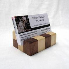 Business card holder for desk wood business card stand