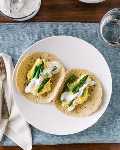 Consider breakfast for dinner for an easy #MeatlessMonday meal: These Ricotta Scrambled Egg Tacos are great with asparagus or any veggie | A Couple Cooks