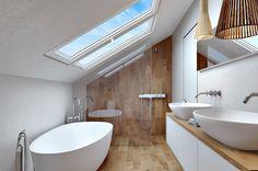 Creative Way To Decorate White Bathroom Designs Beautified With a Modern Backsplash Decor - Decoration Ideas Small Attic Bathroom, Loft Bathroom, White Bathroom, Wooden Bathroom, Loft Room, Bedroom Loft, Bad Inspiration, Bathroom Inspiration, Modern Bathroom Design