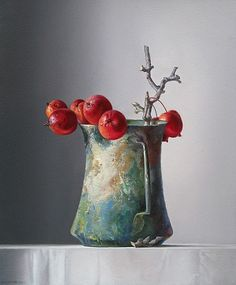 Adriana van Zoest. Ornamental Apples in a Roman Jug, 21st century