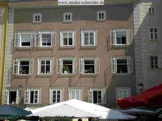 Backside of Motzart's birthplace, taken from the marketplace.  Salzburg, Austria