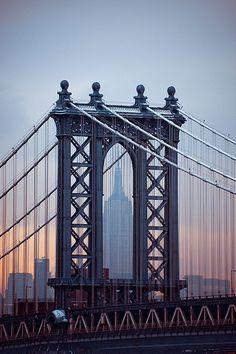 Manhattan Bridge in New York with hidden Empire State via flickr