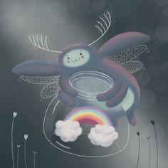 digital art - Ololony Colophony #beetle #rainbow #cuteillustration