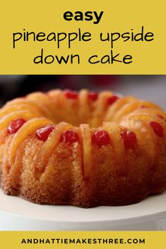 This pineapple upside down cake recipe is so easy and it comes out super delicious. I make it as a bundt style cake with sliced pineapple, maraschino cherries and boxed cake mix. Box Cake Recipes, Cake Recipes From Scratch, Dessert Recipes, Pinapple Cake, Bunt Cakes, Savoury Cake, Just Desserts, Light Desserts, Maraschino Cherries