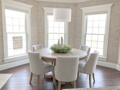 My Neutral (yet Whimsical) Christmas Decor 2018 Large Round Dining Table, Round Dining Room Sets, Dinning Room Tables, Dining Room Design, Dining Chairs, Round Kitchen Tables, Dining Area, White Dining Room Sets, Lounge Chairs