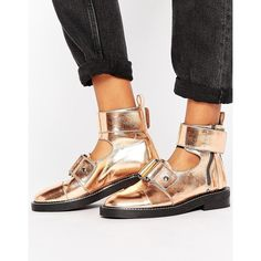 ASOS AXLE Leather Cut Out Ankle Boots (375 PLN) ❤ liked on Polyvore featuring shoes, boots, ankle booties, gold, short boots, metallic booties, strappy ankle boots, low heel ankle boots and buckle ankle boots