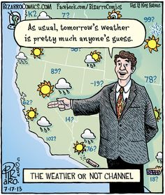 As usual, tomorrow's weather is pretty much any one's guess.  The Weather or NOT Channel.  Always Accurate!