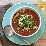 Chili-Spiced Chicken Soup with Stoplight Peppers and Avocado Relish Recipe | MyRecipes.com
