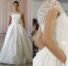 3d Floral Appliques Wedding Dresses 2016 Oscar De La Renta Bridal Gowns Beteau Neckline A Line Wedding Gowns Quinceanera Dresses White Dress From Gonewithwind, $201.01| Dhgate.Com