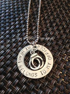"Custom Hand Stamped Necklace - ""My Heart Belongs to My Officer"" - Police Officers Wife. $24.00, via Etsy."
