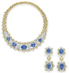 Sapphire, diamond and gold suite by   Mouwad. Elizabeth Taylor collection, Christie's.
