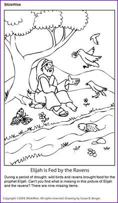 Coloring (Elijah and the Ravens) - Kids Korner - BibleWise