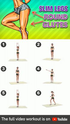 Slim Legs + Round Glutes Workout At Home - Lower body is a problem for may people – because our body seems to prefer this area to store its - Workout Videos For Women, Gym Workout For Beginners, Gym Workout Videos, Abs Workout Routines, Fitness Workout For Women, Fitness Workouts, At Home Workouts, Morning Ab Workouts, Simple Workouts