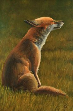 Into the Sun, Fox Artwork, Framed Animal Art Painting by GB Impressionist  #Realism #fox #foxpainting #artwork #art #foxes #wildlife #painting #impressionism