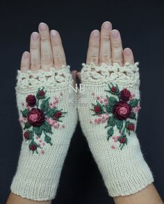 Knitted Fingerless Gloves, Ivory, Burgundy, Dark Rose, Rose, Roses, Gloves &…