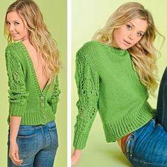 Пуловер с застежкой на пуговицы на спине и ажурными рукавами
