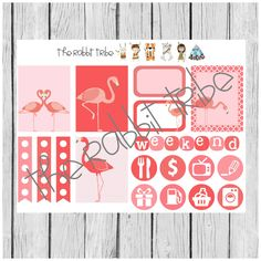 Weekly sticker set - flamingos - planner stickers by TheRabbitTribe on Etsy