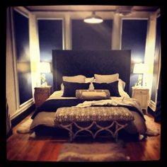 Master Bedroom With A City View Navy Blue White And Tan Restoration Hardware