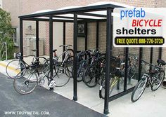 Bike shelters, as their name indicates, consist of more than the simple bike racks that have been in use for decades.  While cycle racks offer cyclists a stable structure to which they can chain or U-lock their bicycles, they do not offer protection from the surrounding elements.  Shelters, on the other hand, offer a protective enclosure that protects bicycles from wind, rain, and snow.