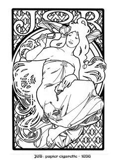 Kleurplaat naar Alfons Mucha *Colouring Picture A.Mucha-like  ~JOB~
