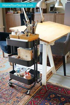Art Studio Storage, Art Studio Organization, Art Storage, Extra Storage, Storage Ideas, Art Supplies Storage, Ikea Storage, Storage Cart, Kitchen Storage