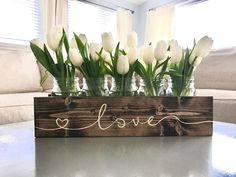 Engraved Mason Jar Centerpiece Wood Planter Box- rustic home decor hallway Planter Box Centerpiece, Wood Planter Box, Mason Jar Centerpieces, Table Centerpieces For Home, Wedding Centerpieces, Dining Room Centerpiece, Quinceanera Centerpieces, Diy Table, Rustic Table Decorations