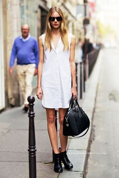 Model-Off-Duty Style: A Downtown Cool Take On The White Shirtdress via @WhoWhatWear