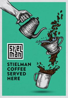 Hand drawn poster illustration for Stielman coffee by Ralf van de Kerkhof.   Koffie poster, coffee poster, barista, slow coffee, coffee roasters.