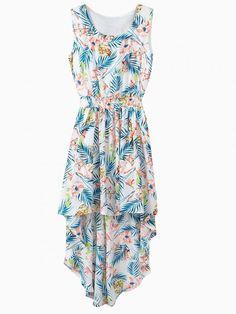 Floral And Leaf Pattern Deep Hem Chiffon Dress #floral #dress #women #summer #leaf #style