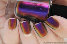 I Love Nail Polish – Cyngus Loop: First up is Cyngus Loop, a gorgeous warm purple multichrome that shifts from purple to orange to yellow and to green.