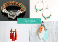 SoftFlexGirl: Friday Four - Knitted Cuff, Boho Earrings, Ring and Tassel Necklace, Polymer Clay Feather Necklace