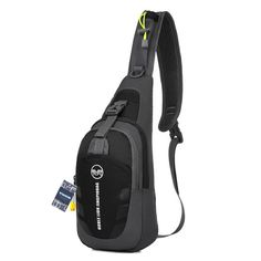 WOMHOPE Portable Multi-functional Waterproof Super Light Unisex Outdoor Sports Chest Bag Bum Bag Sling Bag Casual Bag Shoulder Backpack Cross Body Bag - Hiking,Biking,Running (Black & Grey)