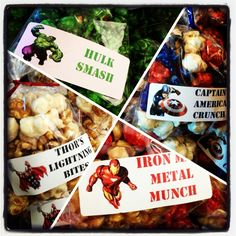 Avenger popcorn party snacks.   Iron Man Metal Munch (Cherry & Caramel popcorn), Captain America Crunch (cherry, vanilla & blueberry), Hulk Smash (green apple) & Thor's Lightning Bites (caramel & cheesecake). Took forever to come up with the names...hope the kids appreciate it!  Popcorn from Poparazzi in Houston, TX Avengers Birthday, Superhero Birthday Party, 7th Birthday, Birthday Ideas, Iron Man Snacks, Avengers Party Foods, Iron Man Party, Captain America Party, Iron Man Birthday