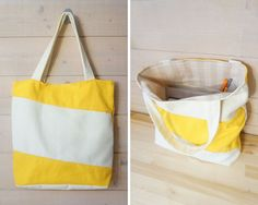 Tote bag - diagonal white-yellow