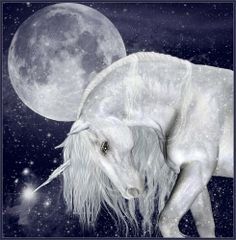 A Unicorn bowing to the the Moon