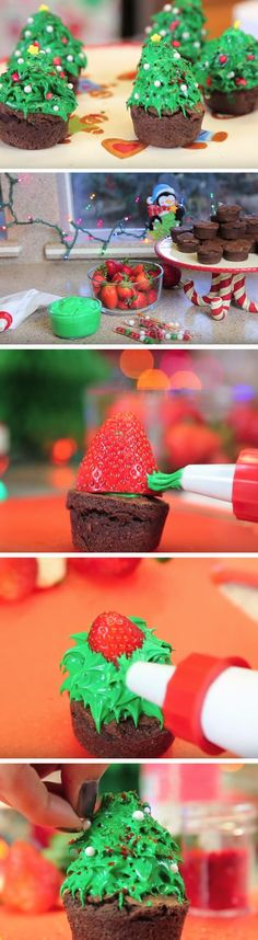 Strawberry Christmas Trees | 20 + Easy Christmas Treats for School Parties