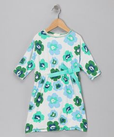 Take a look at this White & Green Floral Art Dress - Toddler & Girls by American Classics: Apparel & More on #zulily today!