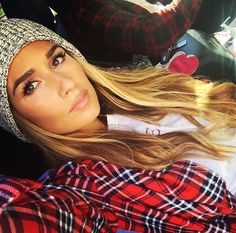 Her hat and plaid with her makeup/// …