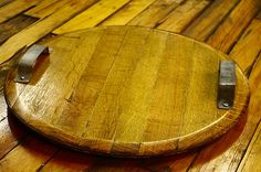 Wine Barrel Top serving Tray. With handles made from barrel rings