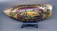 SCRIMSHAW WHALING SCENE. Extremely rare and highly sought after identified and dated American scrimshaw whaling scene with patriotic motifs.