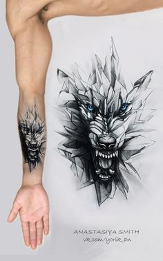 Realistic wolf tattoo design is part of - ArtStation Glass wolf, Anastasiya Smith Lion Arm Tattoo, Wolf Tattoo Sleeve, Forearm Tattoos, Body Art Tattoos, Hand Tattoos, Sleeve Tattoos, Tattoo Wolf, Arm Tattoo Men, Tatto Man