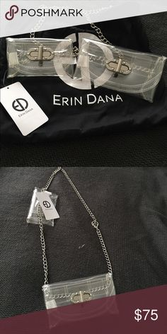 Erin Dana Evan Belt Bag Adorable clear plastic bag. Can be worn as a belt bag or cross body, with one pouch or both.  Silver chain is adjustable. With Erin Dana cloth bag. Erin Dana Bags Crossbody Bags